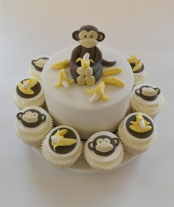 Monkey Birthday Cake with Cupcakes